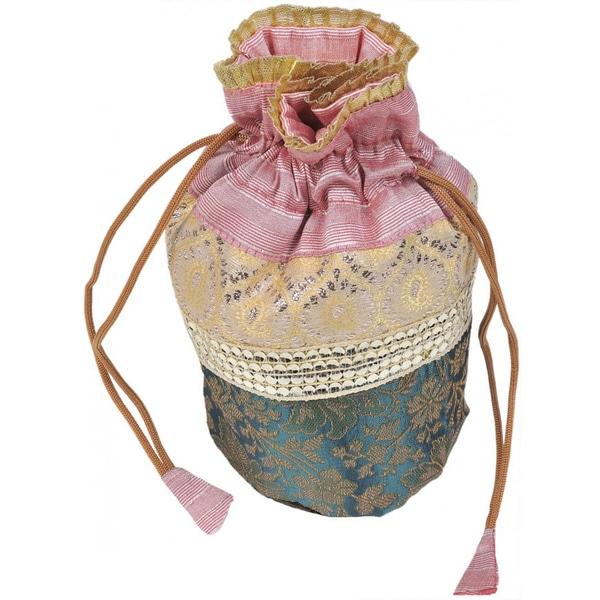 Pink and Green Silk Brocade Weave Drawstring Potli Bag (India)