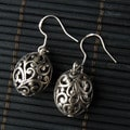 Silver Oval Lattice Earrings (China)