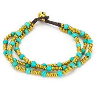Thai-handicraft Triple Strand Turquoise Bracelet (Thailand)