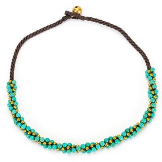 Thai-handicraft Turquoise and Brass 'Twisted' Necklace (Thailand)