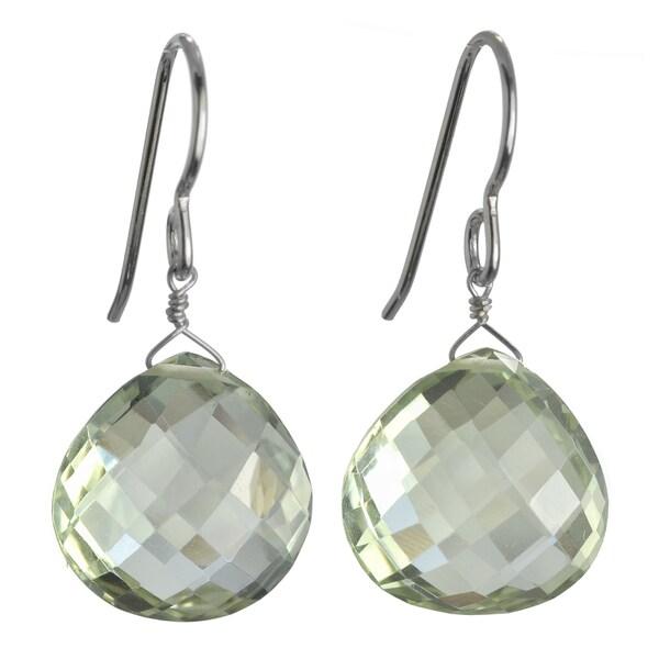 Ashanti Sterling Silver Mint Green Amethyst Faceted Pear Dangle Earrings (Sri Lanka)
