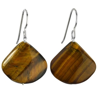 Ashanti Silver Large Tiger Eye Faceted Earrings (Sri Lanka)