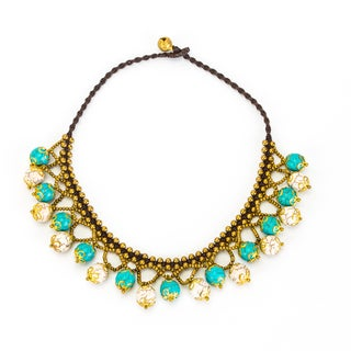 Thai-handicraft White and Blue Turquoise Necklace (Thailand)