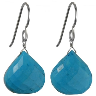 Ashanti Silver Turquoise Faceted Briolette Earrings (Sri Lanka)
