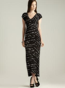 Nicole Miller Criss Cross Seam Double V Printed Dress