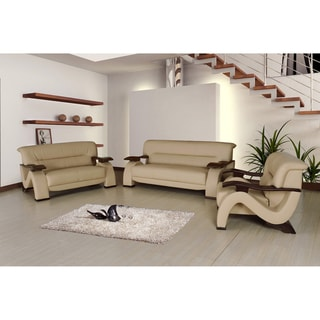 Selina Cream Bonded Leather Modern Set