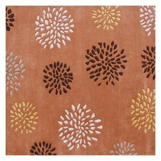 Alliyah Handmade Tufted Rust Flower Patch New Zealand Wool Rug