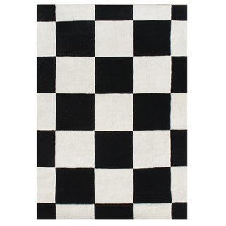 Alliyah Handmade Black New Zealand Blend Wool Rug 5x8