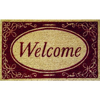 Welcome on Red Border Non Slip Doormat