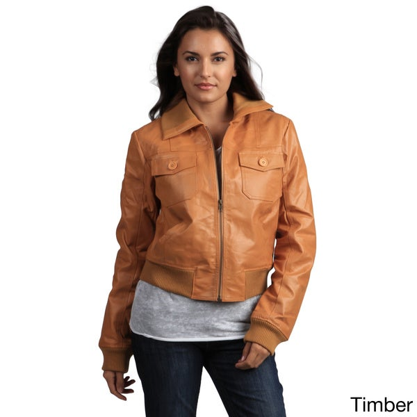 Tanners Avenue Women's Genuine Leather Bomber Jacket 11282591