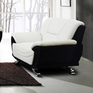 Alica Modern Black/ White Faux Leather Chair