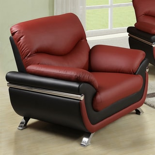 Alica Modern Black/ Red Faux Leather Chair