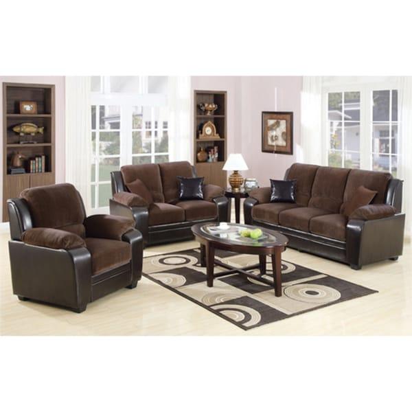 Rosa Chocolate Brown 3-piece Sofa Set