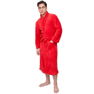 Red Men's Signature Plush Marshmallow Bathrobe