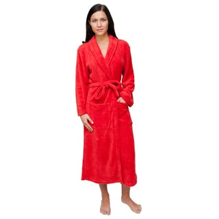 Red WoMen's Signature Plush Bathrobe