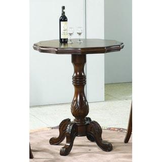 Round 36-inch Walnut Finish Carved Wooden Pedestal Pub Table