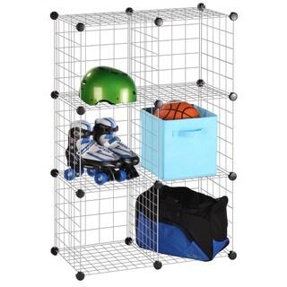 6 Pack Modular Mesh Storage Silver Cube