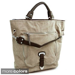 Dasein Decorative Zipper/ Buckle Front Tote Bag