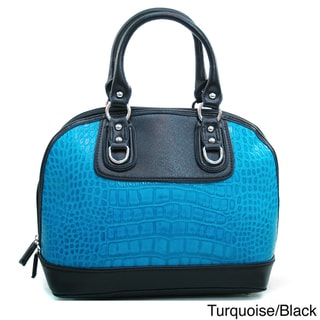 Dasein Matte Croco Zip-around Satchel with Stud Accents