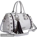 Dasein Embossed Croco Accents Large Studded Satchel