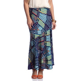 Lola P Women's Geometric Printed Long Skirt