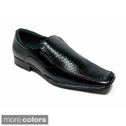 Delli Aldo Men's Snake Textured Faux Leather Loafers