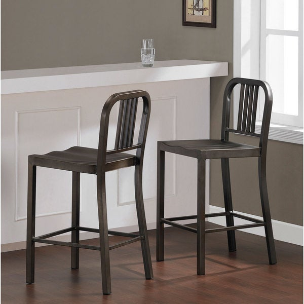 Tabouret 24-inch Vintage and Gunmetal Counter Stool (Set of 2)