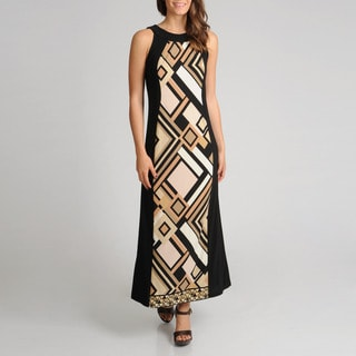 R & M Richards Women's Zigzag Panel Print Maxi Dress