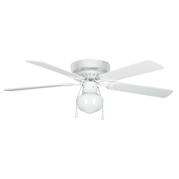 52 Inch One Light Five Blade Ceiling Fan / Schoolhouse Glass Light Kit