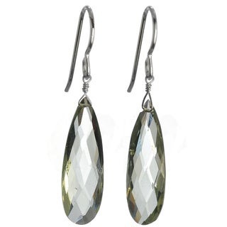 Ashanti Silver Green Amethyst Faceted Long Briolette Earrings (Sri Lanka)