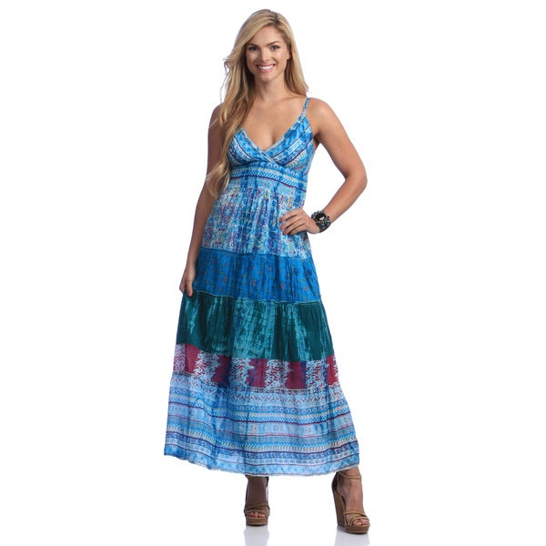 Lazy Daisy Women's Printed Tiered Maxi Dress