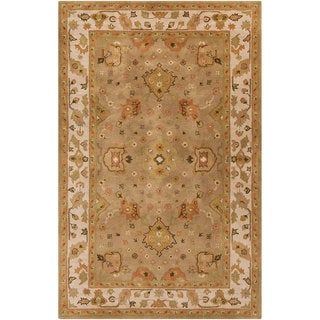 Hand-tufted Classic Floral Border Gold Wool Rug (10' x 14')