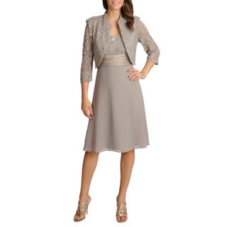 R & M Richards Women's 2-piece Mandarin Jacket Dress