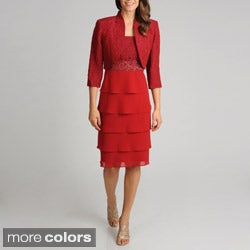 R&M Richards Women's 2-piece Textured Bodice Jacket Dress