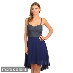 Stanzino Women's Two-tone Denim High-low Dress