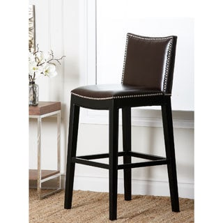 Abbyson Living Becca Dark Brown Nailhead Barstool