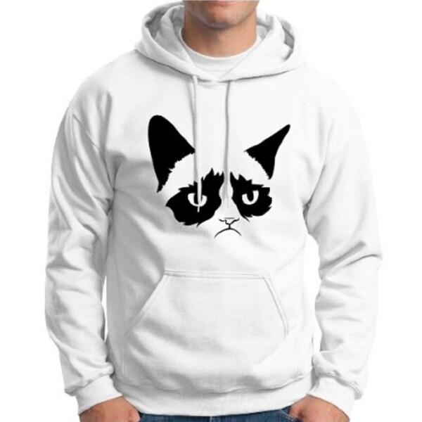 Men's White Angry Cat Hoodie