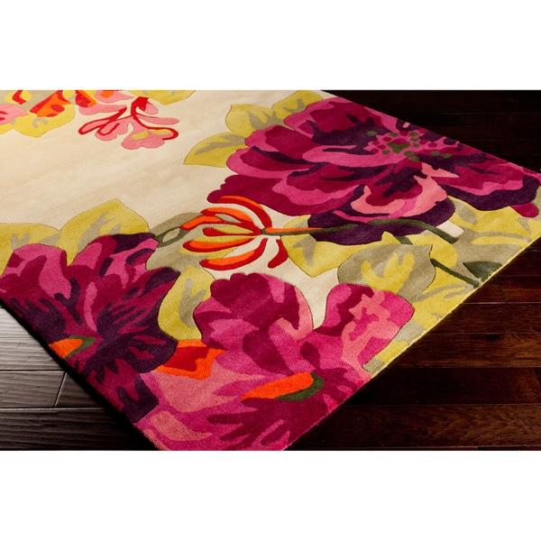 Sanderson Hand-tufted Pink Floral Wool Rug (8' X 11