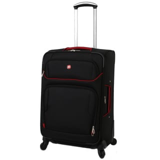 SwissGear Black/Red 24-inch Expandable Lightweight Spinner Upright Suitcase