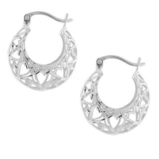 Moise Rhodium-plated Sterling Silver Cut-out Heart Hoop Earrings