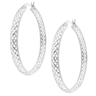 Moise Sterling Silver Woven Mesh Design Hoop Earrings