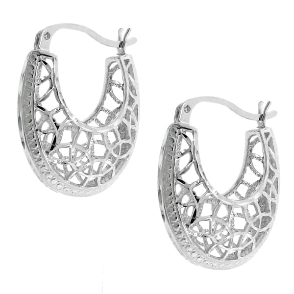 Rhodium-plated Sterling Silver Cut-out Hoop Earrings