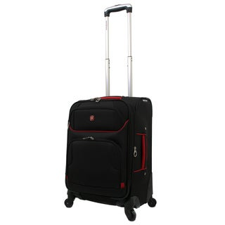SwissGear Black/Red 20-inch Expandable Lightweight Spinner Upright Suitcase