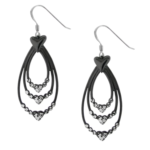 Hematite-plated Sterling Silver Drop Earrings