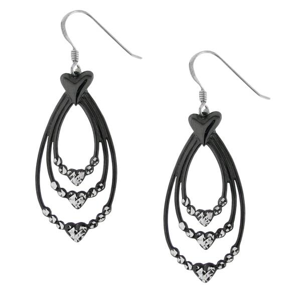 Hematite-plated Sterling Silver Drop Earrings