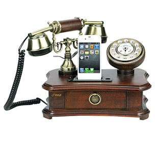 Pyle Wood Finish Retro Home Telephone with Charger for iPhone/ iPod