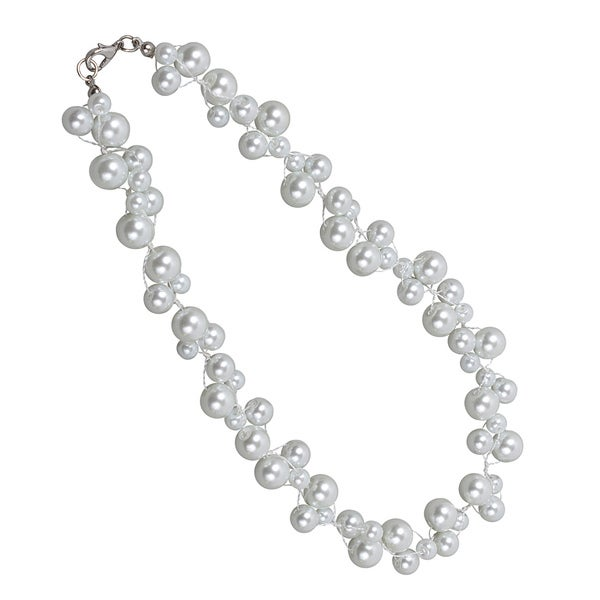 NEXTE Jewelry White Freshwater Pearl Cluster Necklace (6-10 mm)