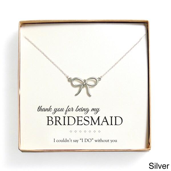 'Bridesmaid Thank You' Bow Necklace Gift Set