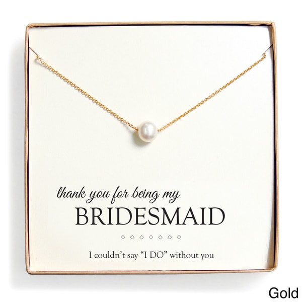 'Bridesmaid Thank You' Pearl Necklace Gift Set (8 mm)