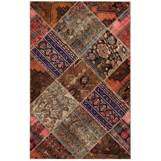 "Pak Persian Hand-Knotted Traditional Patchwork Multicolored Wool Rug (3'9"" x 5'11"")"